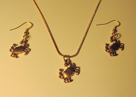 Crab Necklace & Earrings Set #2 goldtone sea life - $15.00
