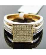 Women white diamonds Engagement Ring band .925 Silver gold finish.35ct S... - $112.77