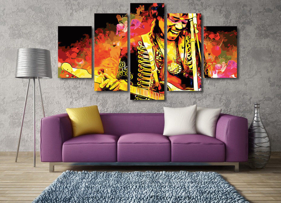 Framed 5 Piece Jimi Hendrix Guitar Abstract Canvas Wall Art Print ...