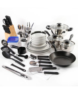 Kitchen Starter Set Cookware Stainless Pans Flatware Block containers di... - $69.99