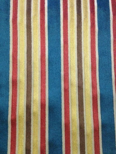 14 yds Cut Velvet Upholstery Fabric Federal Stripe Blue Red Gold Brown OP-c14