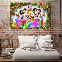 1 Pcs Mickey Merry Christmas Wall Picture Home Decor Printed Canvas Pain... - $29.99+