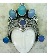 Hand Carved Goddess and Blue Fire Opals Sterlin... - $166.08