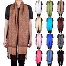 Solid Color Pashmina Paisley Floral Silk Wool Scarf Wrap Shawl Soft Classic - $7.95