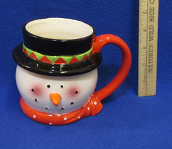 Happy Snowman Face Mug Cup Coffee Hot Chocolate Tea Coach House Gifts Ho... - $11.87