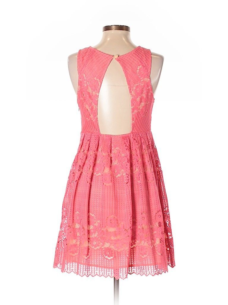 Free People Women's Sleeveless Lace Dress Backless Coral Pink Lined Size 2