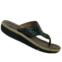 Clarks Artisan Womens Black Leather Slip On Cut Out Studded Sandals Size... - $33.45