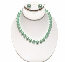 Marvella Bead Choker Necklace Clip Earring Set Green Faux Pearl Vintage Jewelry - $22.44