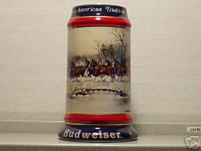 BUDWEISER CS112 GOLD 1990 HOLIDAY WHOLESALER #11 MUG