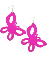 Pink Wooden Large Butterfly Dangle Earrings - $6.99