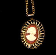 Vintage Gold Tone Necklace with Molded Cameo Pendant   - $6.95