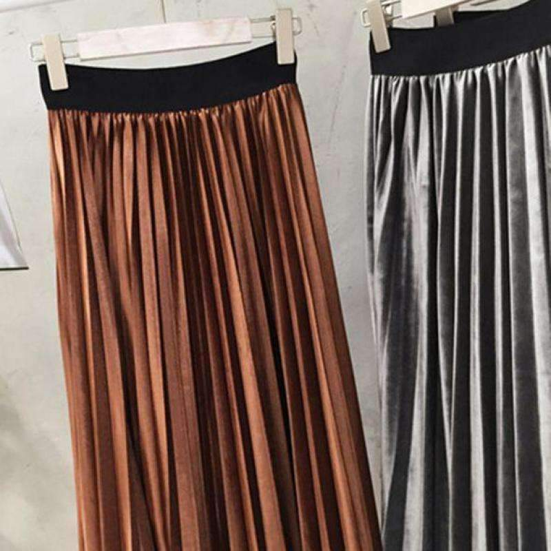 Chic Pleated Velvet Women Midi Skirts