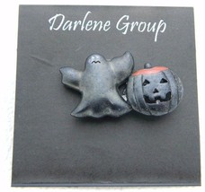 Vintage Halloween Black Ghost Enamel Pumpkin Darlene Group Pin Brooch NOS - $13.86