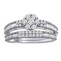0.43 Ct Round & Baguette Natural Diamond Sterling Silver Engagement Bridal Set - $145.52