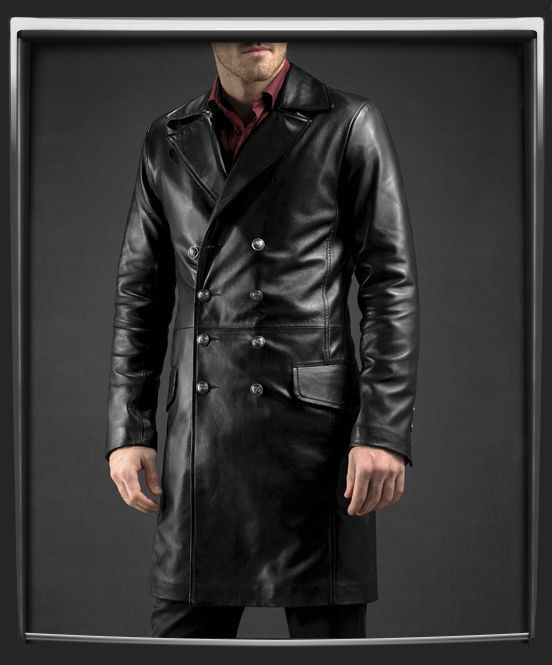 WINTER MEN LEATHER COAT TAILOR MADE REAL GENUINE LEATHER TRENCH COAT -24