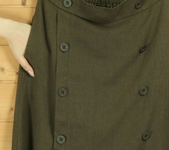 Women A Line Cotton Linen Skirts Linen Casual Skirt, Army Green Navy,  One Size image 1