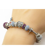 925 Sterling Silver - Vintage Multicolored Crystals Charms Bracelet - B3797 - $101.66