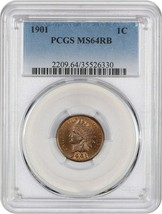 1901 1c PCGS MS64 RB - Indian Cent - $135.80