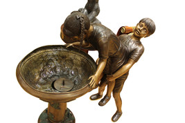 """Boy Girl Drinking From Fountain Bronze Statue -  Size: 44""""L x 24""""W x 42""""H. - $3,800.00"""
