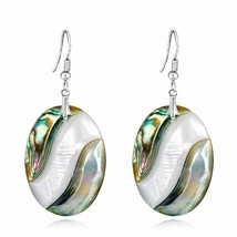 Fashion Trinket Abalone Shell Drop Dangle Earring Silver For Women Jewel... - $12.22