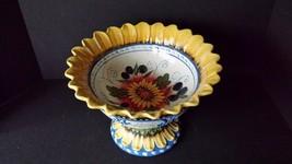 "Large Julie Ueland Pedestal Bowl Sunflower Dish Centerpiece 11 3/4"" D 8""... - $61.18"