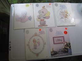 precious moments cross stitch pattern books (5) PM-6 to PM-10 1980s orig... - $18.06