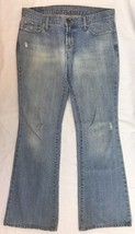 AMERICAN EAGLE HIPSTER SKINNY FLARE JEANS 2 PETITE DISTRESSED 31.5 X 29 - $19.34