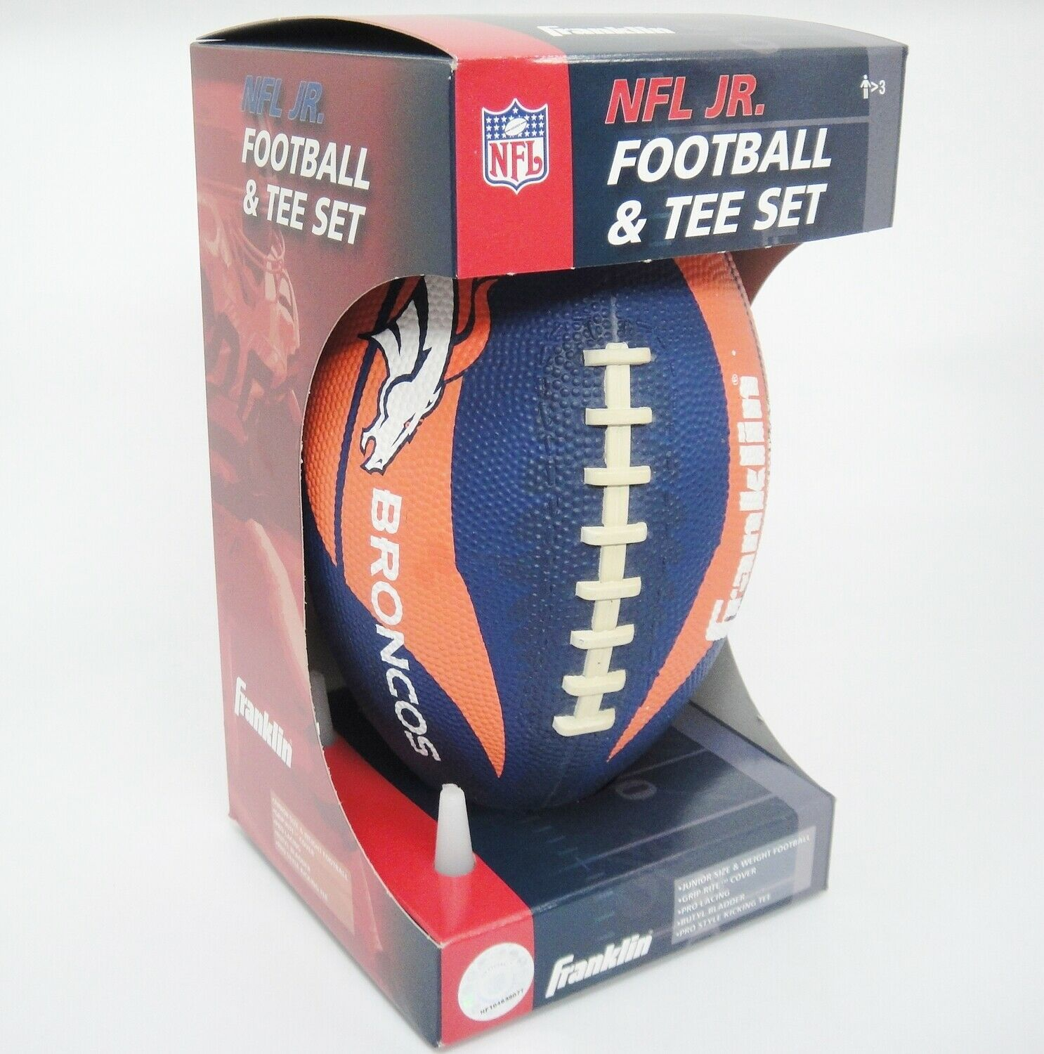 Primary image for Franklin Denver Broncos NFL Jr Football & Tee Set Orange and Blue Grip-Rite NIB
