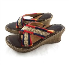 Born Brown Red Blue Leather Wedge Sandals Slides Shoes Womens 10 M Style W6285 - $39.47