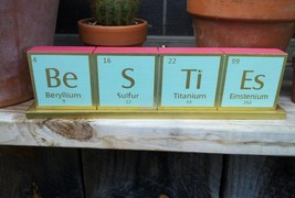"Chemical Elements Wooden Mantel Desk Plaque Pink/Gold/Mint Green "" New"" - $7.50"