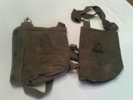 Lot 2 VIETNAM WAR PERIOD US ARMY FIELD PROTECTIVE GAS MASK CASE/BAG - $30.53