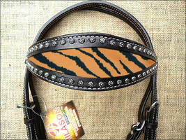 Western Horse Headstall Tack Bridle American Leather Black Tiger Cheetah U-R-HS - $63.95