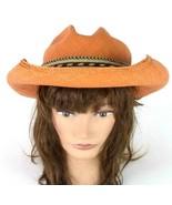 Carol Carr Orange Straw Western Bush Hat Wide Brim Horse Hair Tassel Wom... - $39.59