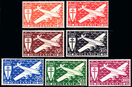 1942 Plane and Cross of Lorraine Set of 7 French Polynesia Stamps C3-C9 MNH