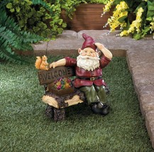 SOLAR GNOME on Welcome Bench Garden Statue Outdoor Decor - $24.99