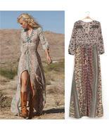 Vintage Women's Bohemian Floral Printed Dress Split Long Maxi Dress Loos... - $22.00