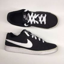 Nike Womens Size 8.5 Court Royale Black White Leather Shoes Athletic 749... - $18.50
