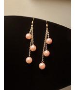 Triple Drop Pink Pearl earrings - $20.00