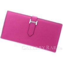 HERMES Bearn Soufflet Veau Epsom Rose Purple Wallet France #A Authentic 5441990 - $1,806.06