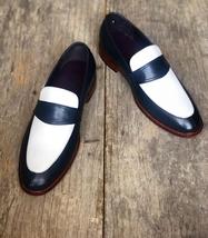 Handmade Men's Black & White Slip Ons Loafer Leather Shoes image 1