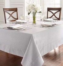 Waterford Linens Rigato 70x84 Tablecloth Platinum - $37.33
