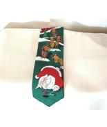 Christmas Golfing Necktie Yule Tie by Hallmark Santa Reindeer Red Green ... - $19.78