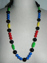 VTG Silver Tone Bright Multi Primary Color Acrylic Bead Beaded Necklace - $19.80
