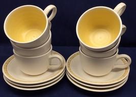 Set of 6 Cups and Saucers Franciscan Dinnerware Hacienda Gold MCM Vtg Fl... - $34.64