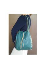 Green Leather Bag, Unlined Purse, Everyday Unique Shoulder Handbag, Carmen - $113.49
