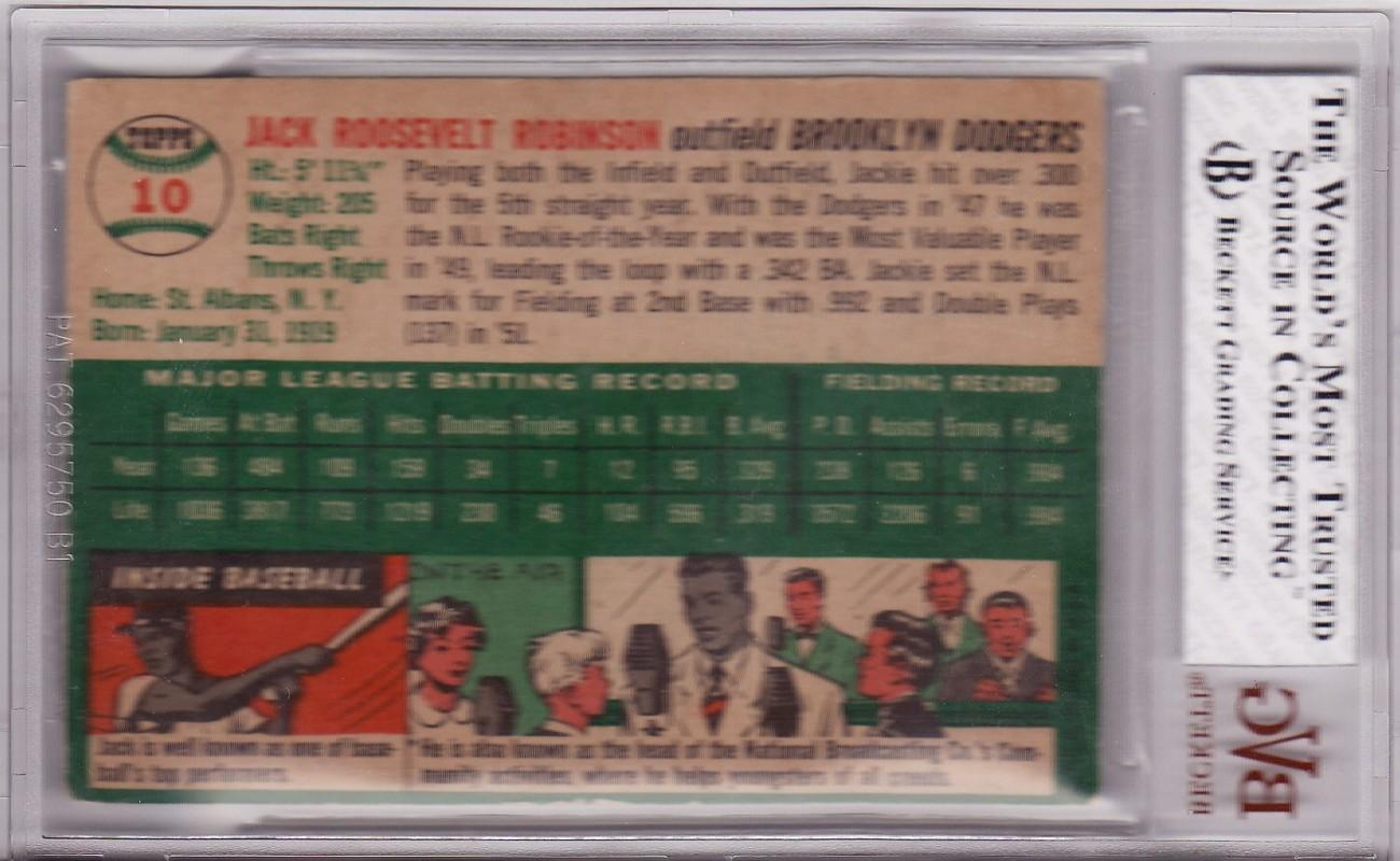 Jackie Robinson 1954 Topps #10 BVG 4 VG-EX