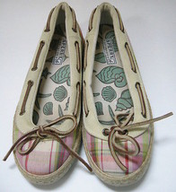 Sperry Top Sider Shoes Flats Pink Green Cream Plaid Cloth Espadrilles Size 6.5 M - $39.08