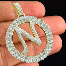 """Round Cut Diamond 18k Gold Plated 925 Silver Initial Letter """"N"""" Alphabet... - £118.27 GBP"""