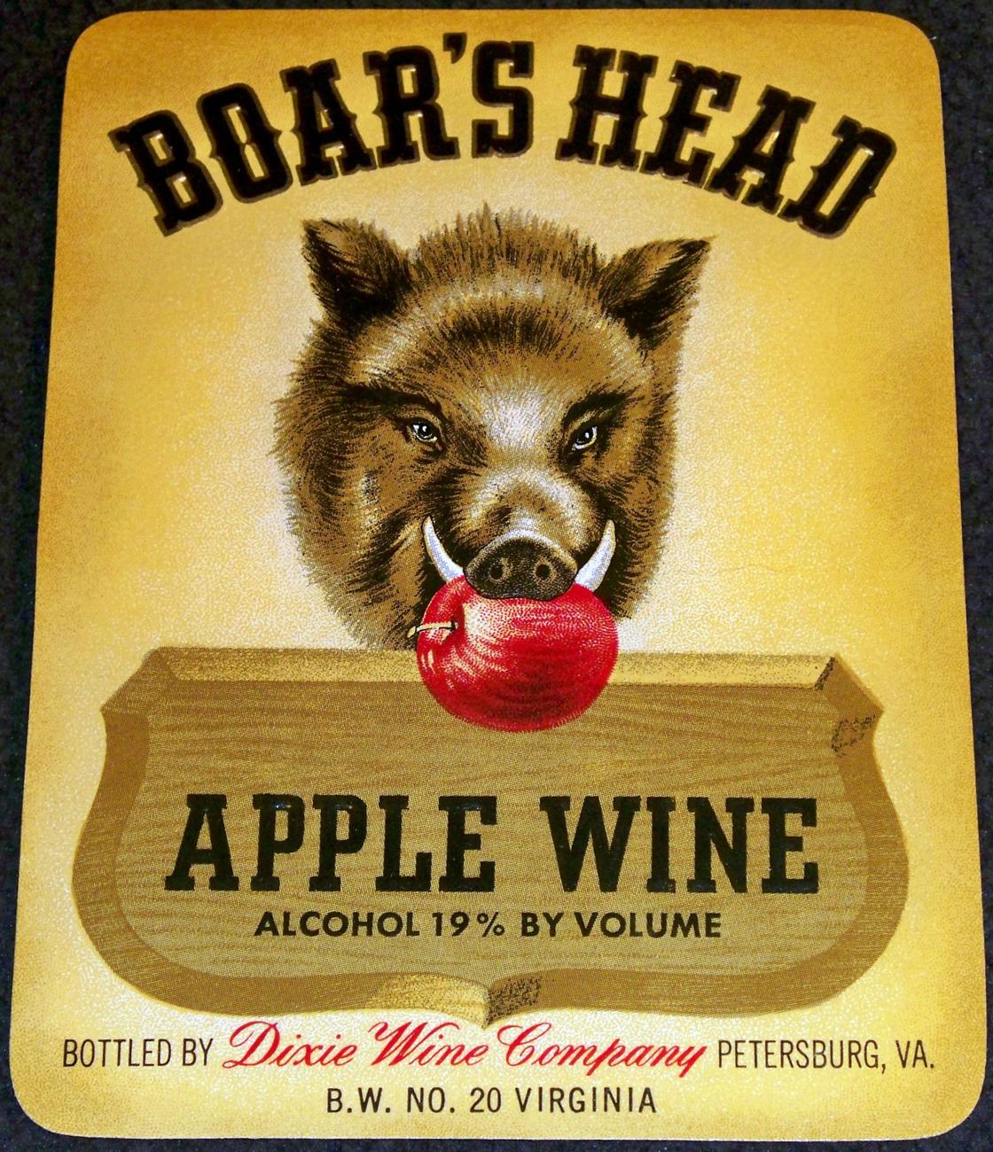 Dixie Wine! Boar's Head Embossed Wine Label, 1940's
