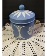 Wedgwood Jasper Ware Blue & White Dancing Hours Jar  - $133.65